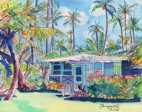 Kauai Blue Cottage, Plantation House, Kauai art, Hawaiian art, whimsical cottage, watercolor cottage, kauai house, Hawaiian house, Hale