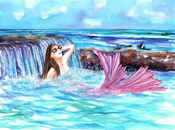 Mermaid Wall Art, Mermaid Art Print, Mermaid Decor, Dolphins, Hawaiian Mermaid, Ocean Art, Ocean Decor, Ocean life, Kids Room Art
