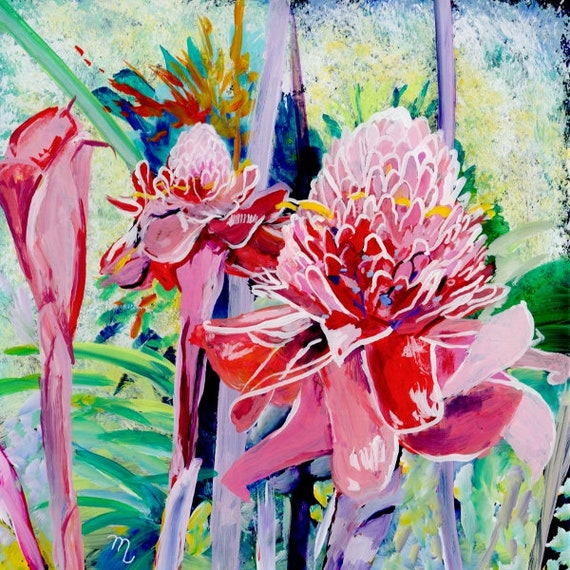 Torch Ginger Art Print, Hawaiian art, ginger flower, tropical flowers, torch ginger painting, tropical garden, Hawaii paintings, Hawaii art