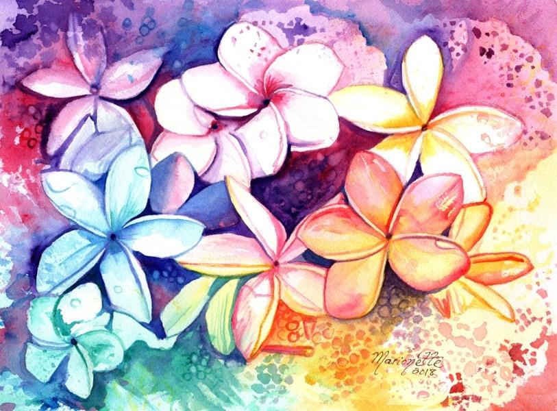 plumeria watercolor original plumeria art tropical flowers