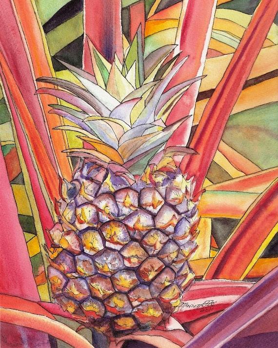 Pineapple art, Pineapple painting, Hawaii art, Pineapple prints, Hawaii painting, Hawaiian fruit, Tropical fruit, Fruit Art, house warming
