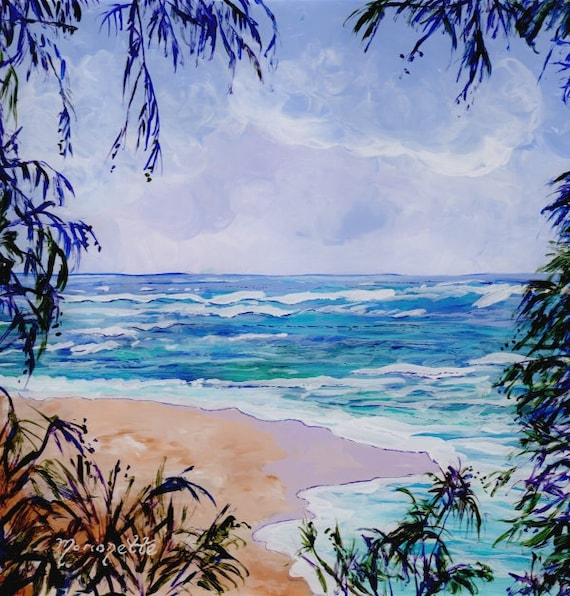 Hawaii Beach Art, Hawaii Decor, Hawaiian Painting, Tropical Beaches, North Shore of Kauai, Kauai Paintings, Hanalei Bay Art