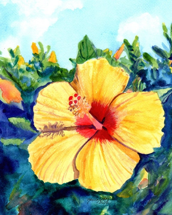 Hula Girl Hibiscus, Yellow Hibiscus Painting, hibiscus art, tropical flower prints, Hawaii art, Hawaiian art,  Kauai Maui Oahu, island decor