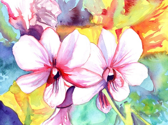 Orchid Watercolor, Tropical Flower, Mothers Day Gift, Orchid Wall Art, Hawaii Orchids, Kauai Orchid Painting, Hawaii Decor, Tropical Decor
