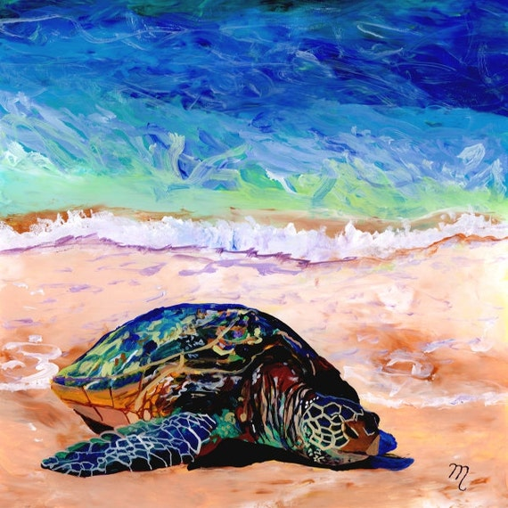 green sea turtle art, sea turtle print, hawaiian honu, turtle painting, hawaiian turtle, turtle art prints, turtle ocean art