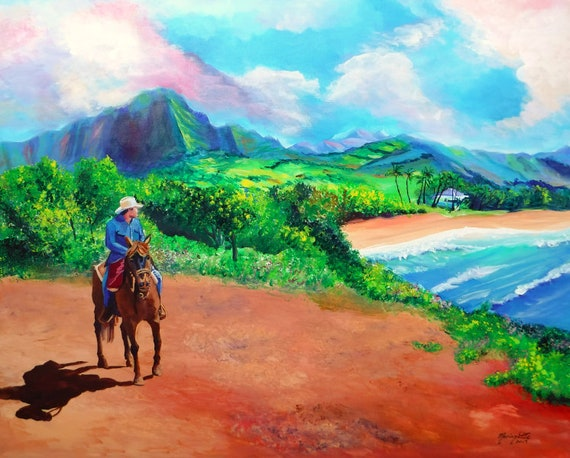 Gillin's Beach with Hawaiian Cowboy Original Acrylic Painting from Kauai Hawaii by Marionette Taboniar