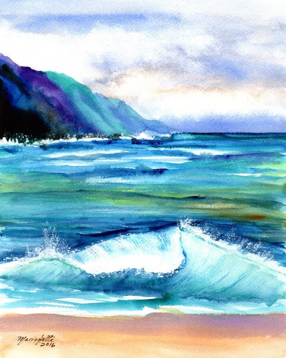 kauai art print hanalei sea ocean beaches sand hawaiian paintings artwork giclee print tropical painting kauaiartist marionette beach