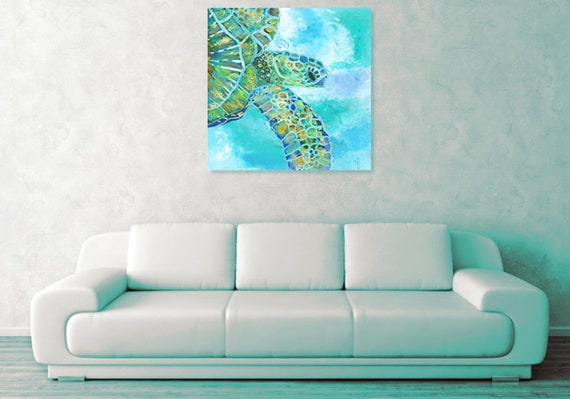 Sea Turtle Large Art Print Square Hawaiian Decor Hawaii Wall Art Honu Swimming Turtle  16x16 24x24 30x30