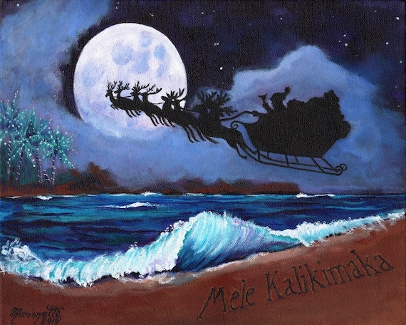 Mele Kalikimaka from the Beach print with Hawaiian Santa from Kauai Hawaii Christmas full moon ocean Christmas in July
