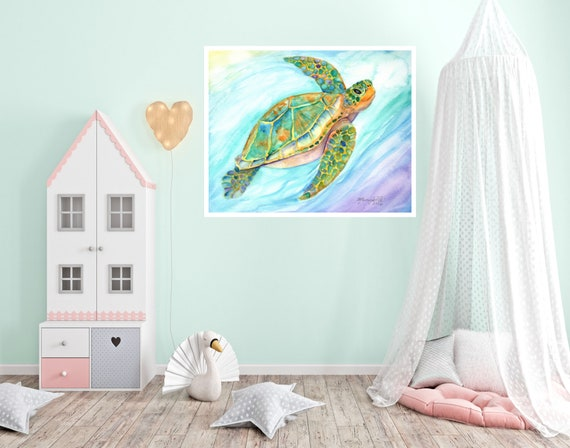 Swimming Sea Turtle Large Art Print 16x20 18x24 24x30 Hawaiian Art Kauai Art Hawaiian Decor Hawaii Art Print Nursery Under the Sea