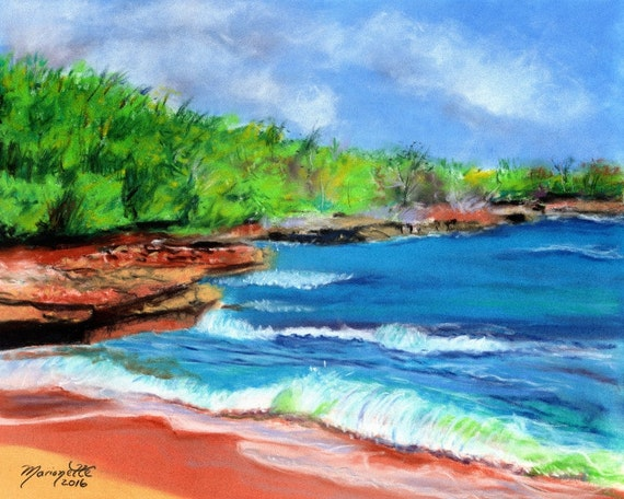 hawaii art print, kauai beach art, kauai paintings, kauai fine art, hawaiian art, mahaulepu beach, ocean art, beach art