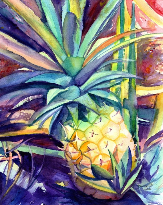 Pineapple art, Pineapple art print, Hawaiian Pineapple Art, Pineapple artwork, Pineapple decor, Pineapple design, Hawaii art