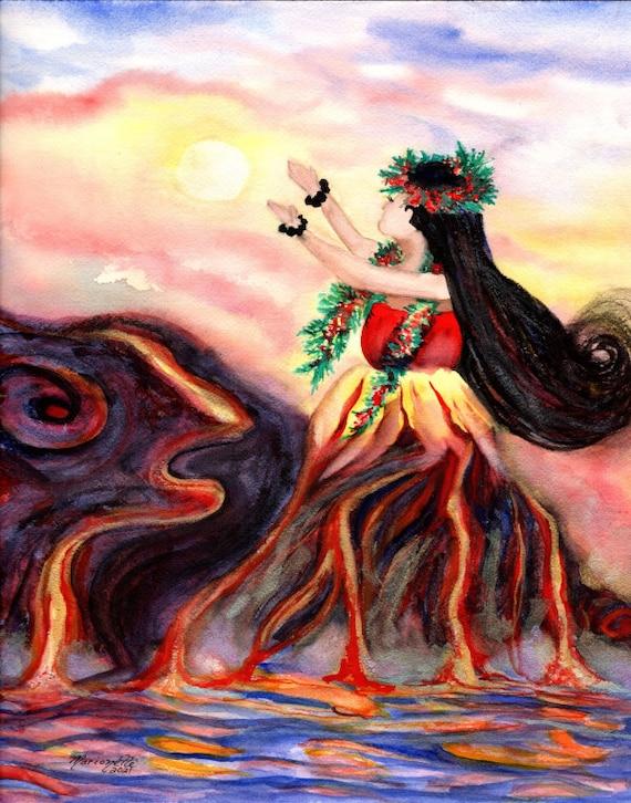 Madame Pele print, Hawaiian Paintings, Goddess Pele, Hula Watercolor Prints, Hawaii art, Hawaiian art, Kauai art, Hawaii print, Fire Goddess