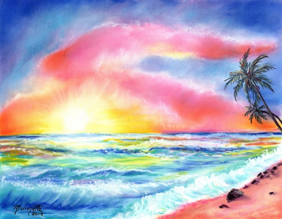 Sunset Print, Hawaiian Sunset, Sunset Painting, Hawaii Painting, Tropical Sunset Art, Kauai Beach Art, Kauai Painting, Tropical Print