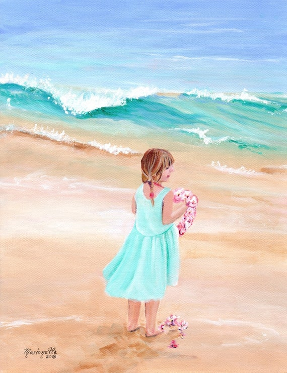 girl with lei, welcome lei, aloha lei, lei of flowers, lei art, plumeria art, hawaii art, hawaiian art gallery, oahu maui, kauai fine art
