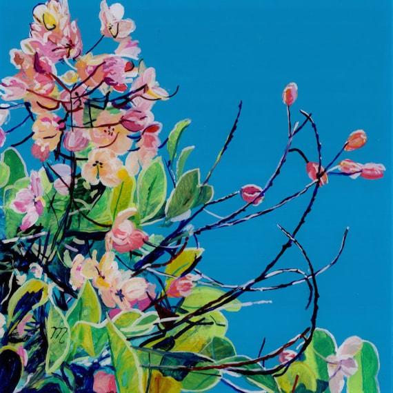 Rainbow Showers tree, Floral Wall Art, Cassia javanica, Java cassia, pink shower, apple blossom tree, Hawaii Flower Print