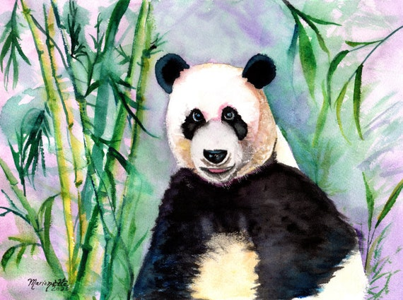 Giant Panda Original Watercolor Painting, Wall Art, Panda Decor, Panda Gifts, Panda Bear, Kids Room Decor