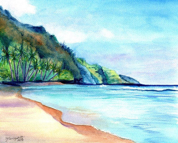 Ke'e Beach - Kauai Kee Beach - Kauai Art Print - Kauai North Shore Paintings -  Kauai Beach Art Prints - Na Pali Coast Decor