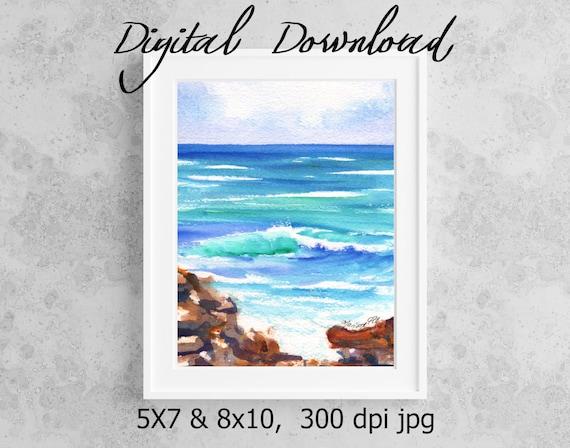 Kauai Seashore Print Digital Download 8x10 5x7 jpg Watercolor Print Printable wall art Downloadable Ocean Decor Hawaiian Beach Wave