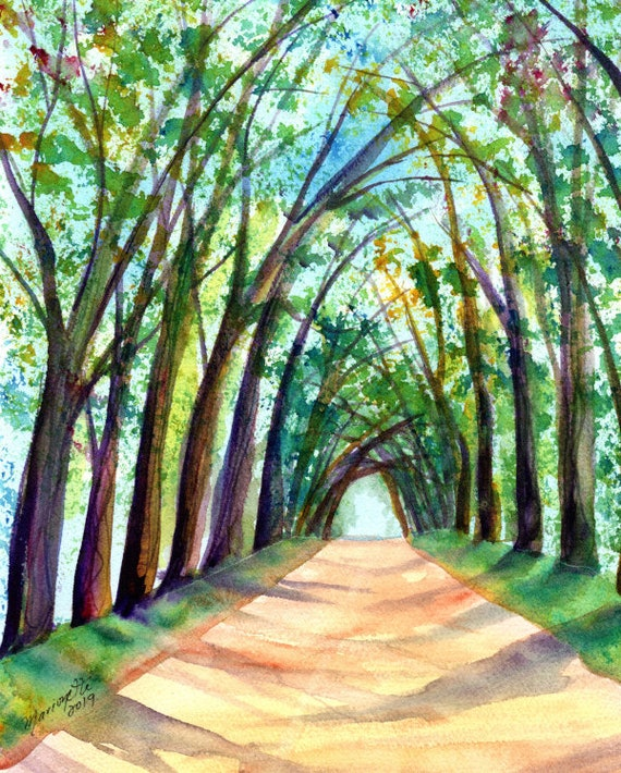 Kauai Tree Tunnel Original Watercolor, Koloa Tree Tunnel, Tree Tunnel Paintings, Kauai Art, Kauai Watercolors