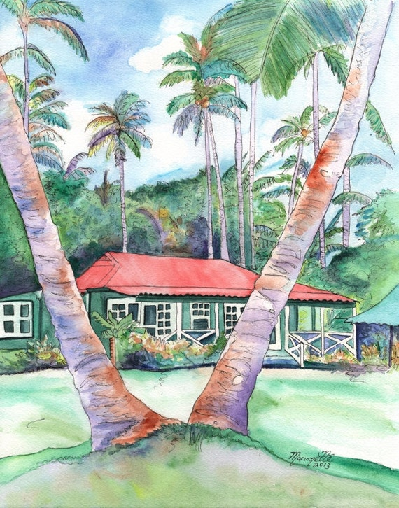 Kauai Plantation Cottage, Kauai art print, Kauai painting, Waimea Plantation Cottages, Tropical House, Hawaiian Vacation, Hawaii art