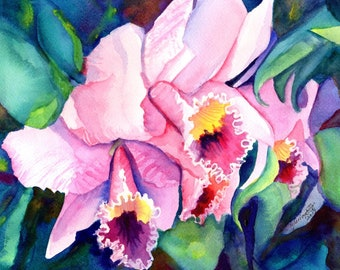 Mothers Day Orchids,  Original Watercolors, Orchid Paintings, Tropical Flower Art, Kauai Fine Art, Hawaiian Original Wall Decor, Hawaii