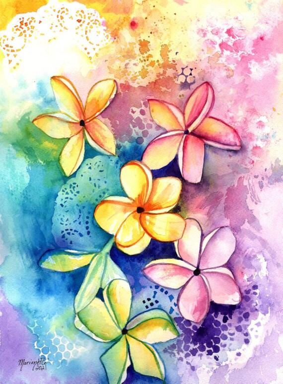 Whimsical Plumeria Original Watercolor Painting, Kauai Wall Art, Hawaii Decor, Hawaiian Art, Colorful Plumeria Blossoms, Frangipani