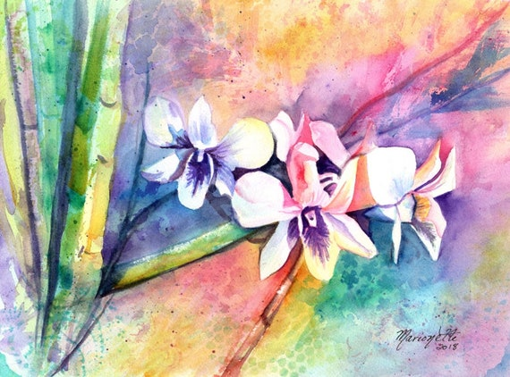 Orchid Print, Orchid Art, Tropical Flowers, Kauai Art, Hawaiian Painting, Colorful Orchids, Hawaii Decor, Rainbow, Hawaiian design, Aloha
