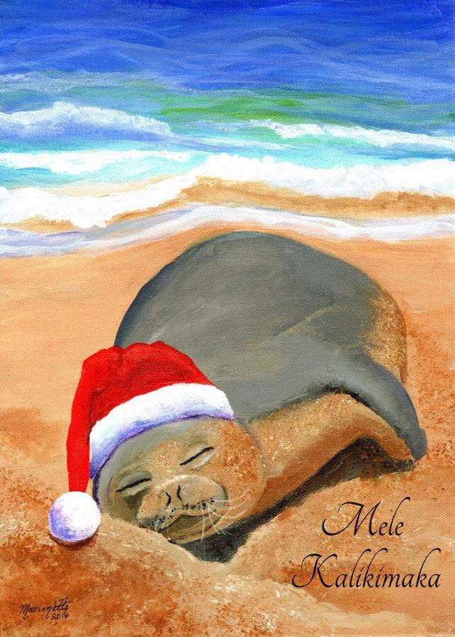 Hawaiian Christmas Card Mele Kalikimaka Hawaiian Monk Seal | Etsy