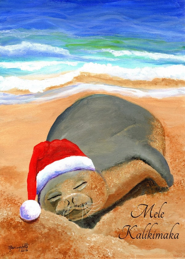 Hawaiian Christmas Card, Mele Kalikimaka, Hawaiian Monk Seal, DIY ...
