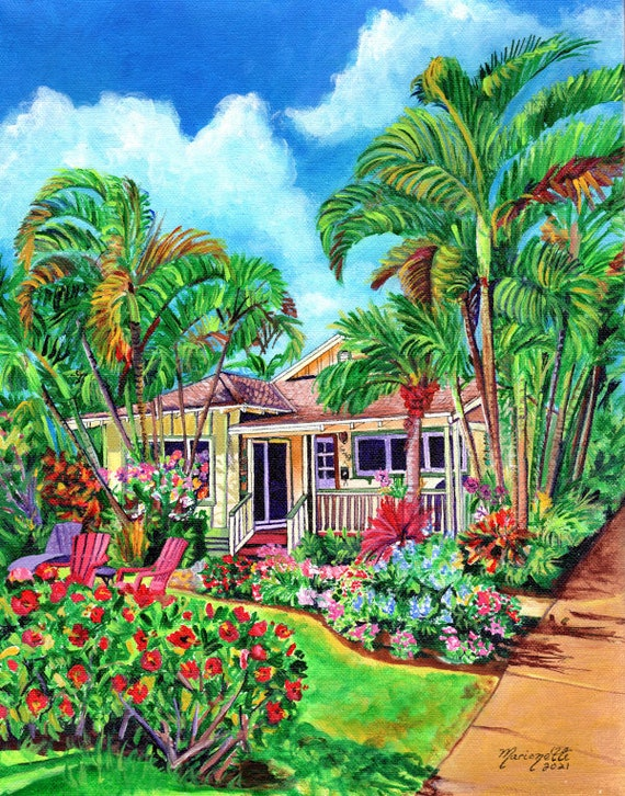 Baby Beach Bungalow, Poipu Vacation House, Kauai Plantation Cottage, Kauai Print, Kauai Painting, Kauai Decor, Hawaiian Art, Hawaii Artist