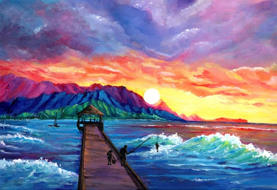 Fishing from Hanalei Pier, Kauai Art Print, Hawaii Art, Kauai Painting, Kauai Beach Art, Hanalei Sunset, Seascape Painting, Hawaii Decor