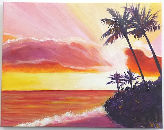 Poipu Sunset Original Acrylic Painting, Kauai Paintings, Hawaiian Art, Sunrise, Beach Ocean Decor, Tropical Sunsets