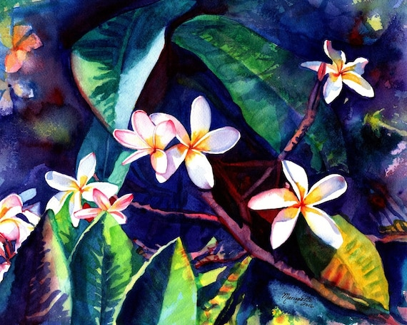 plumeria art print frangipani hawaiian lei flowers plumerias hawaii decor kauai art gallery paintings oahu maui  hawaiian painting aloha