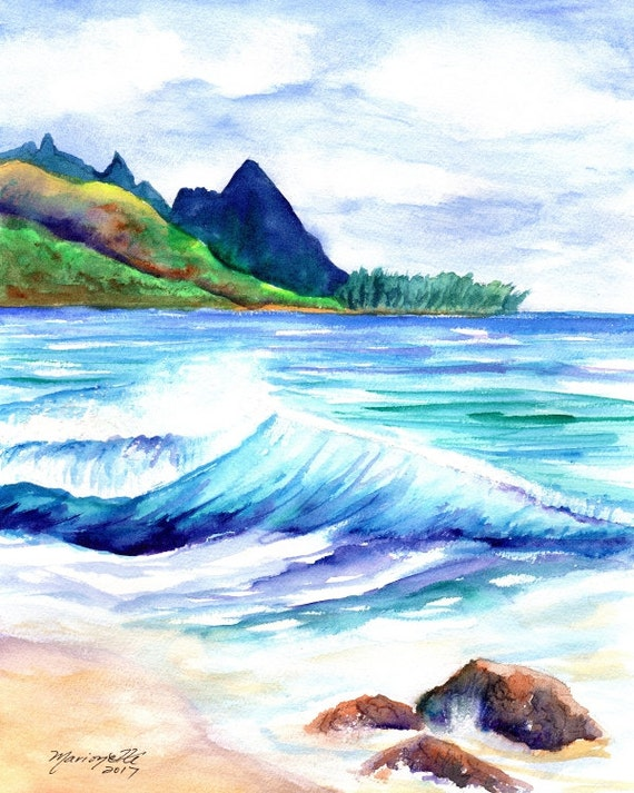 Kauai Tunnels Beach - Kauai Art Print - Watercolor Prints - Kauai Art Prints - Hawaii  Art - Hawaiian Art - Makana Mauka
