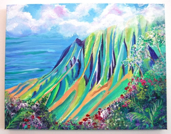 Kauai Art, Kalalau Valley Painting, Kokee Art, Hawaii Art, Kalalau Valley Lookout, Na Pali Coast Kauai, Original Kauai Art, Kauai artists