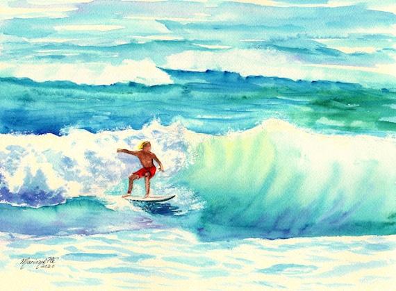 Surfing Watercolor, Surfer Art, Soul Surfer, Soul Surfing, Hawaiian Surf, Hawaii Surfing, Surfing boy man, Gift for him, surfer dude