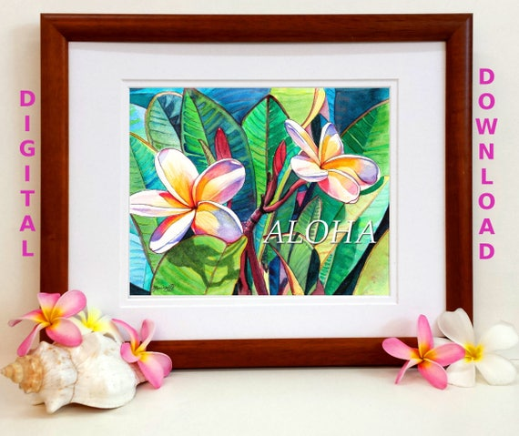 Aloha Plumeria Garden Digital Art Prints 8x10 and 5x7 printable wall art home decor Kauai Hawaii Maui Oahu downloadable print jpg