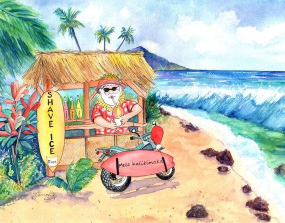 Hawaiian Santa Original Watercolor, Mele Kalikimaka, Hawaii Christmas, Hawaiian Christmas, Shave Ice Art, Surf Board Art, Santa Motorcycle