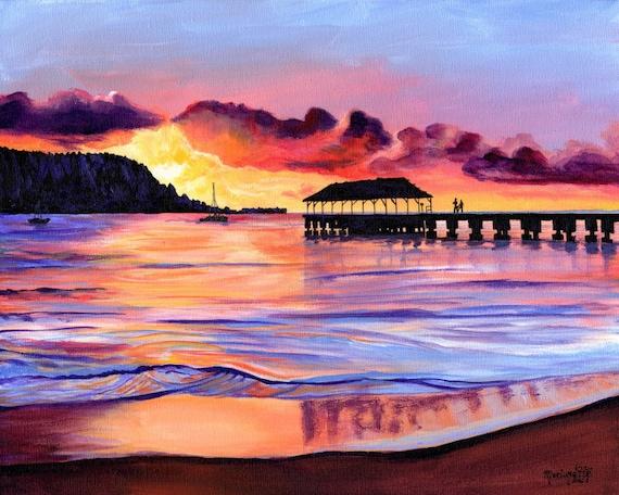 Hanalei Pier at Sunset, Kauai Art Print, Hawaii Art, Kauai Painting, Kauai Beach Art, Hanalei Bay, Seascape Painting, Hawaii Decor