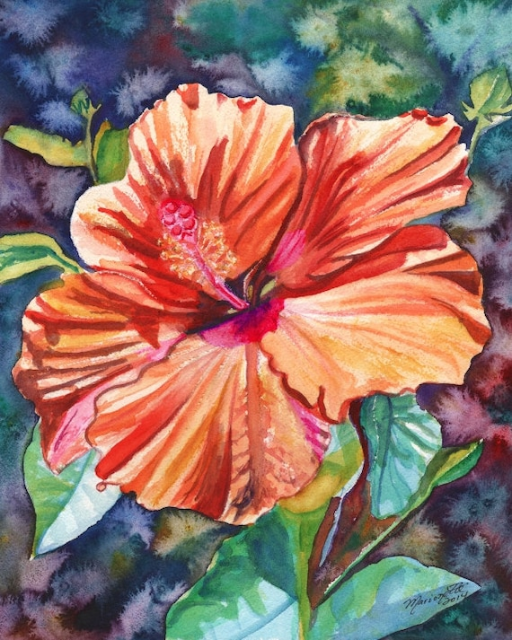 Tropical Hibiscus, Orange Hibiscus, Hibiscus Print, Hibiscus Art, Tropical Flower art, Hawaii art, Hawaiian Hibiscus, Hawaiiana