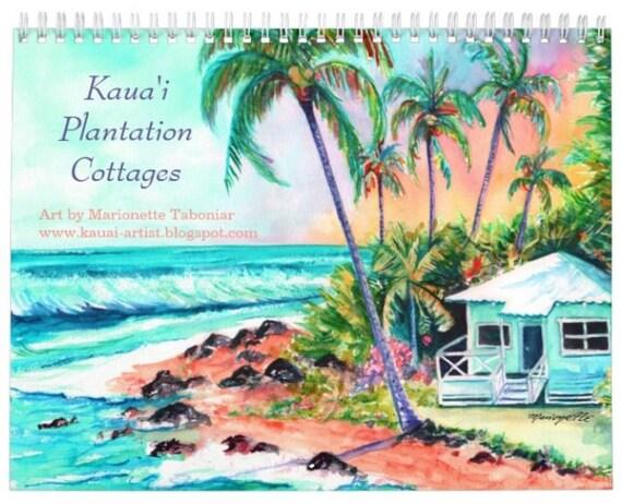 Kauai Plantation Cottages 2021 Wall Calendar, 2021 Calendar, Hawaii Calendar, Illustrated Calendar, Kauai Calendars, Art Calendar, Planner