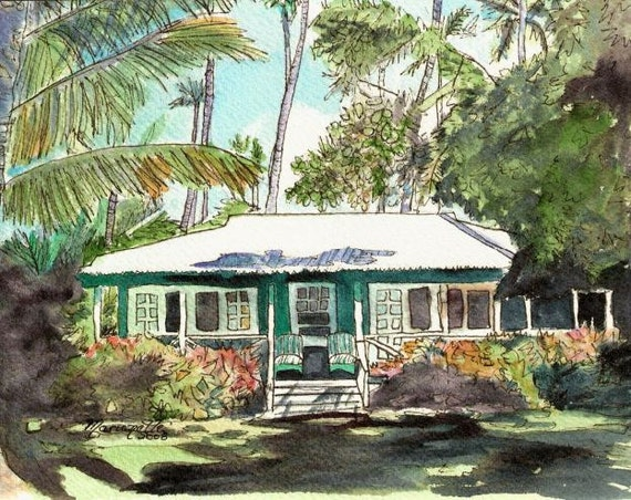 Kauai Cottage art, Kauai print, Waimea Cottages, Hawaii art, Hawaii Painting, Green House, Green Cottage, Old Plantation Cottage, Hawaiian
