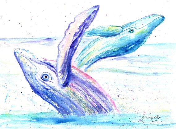 Humpback Whale Art, Whale Decor, Humpback Whale Wall Hanging, Whale Watercolor, Whale artwork, Hawaiian Humpback, Hawaii Painting, Ocean Art