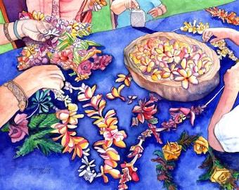 May Day, Lei Day, Lei Makers, Hawaii Art Print, Hawaiian Lei, Hawaii Flowers, Plumeria Lei, Aloha Art, Mahalo, Made in Hawaii