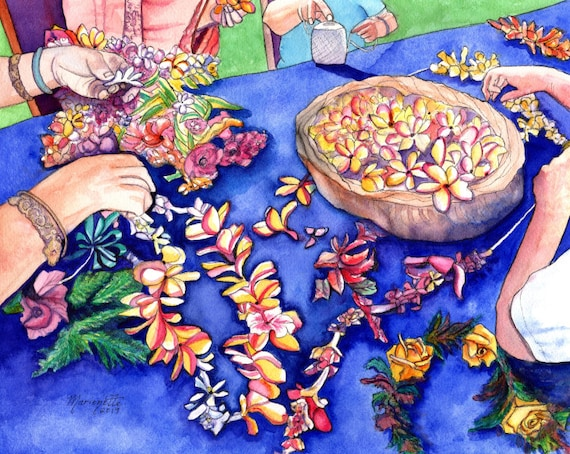 May Day, Lei Day, Lei Makers, Hawaii Art Print, Hawaiian Lei, Hawaii Flowers, Plumeria Lei, Aloha Art, Mahalo, Made in Hawaii