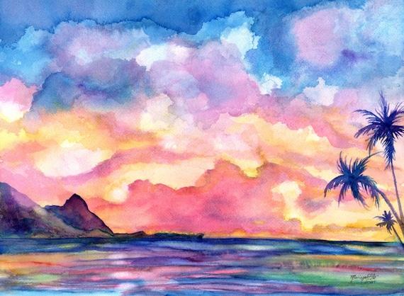 Bali Hai Kauai Sunset, Original Watercolor Painting, Palm Trees, Kauai Hawaii Wall Decor, North Shore Kauai Seascape, Mt Makana