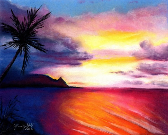 Hanalei Bay, Kauai Art, Kauai Art Prints, Hanalei Sunset Print, Kauai Paintings, Kauai North Shore Art, Hawaiian Sunset, Kauai Beach Art