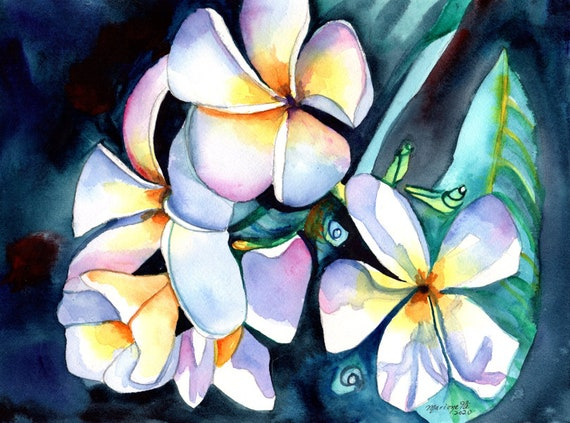 Frangipani Watercolor, Original Plumeria Art, Tropical Flowers, Plumeria Art, Kauai Art, Original Hawaiian Painting,  Aloha Flowers