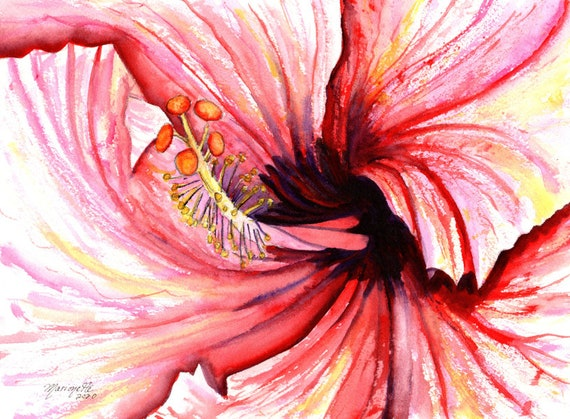 hibiscus painting, pink hibiscus art, hibiscus decor, hawaii art, hawaii painting, hawaii wall art, kauai watercolor, flower art
